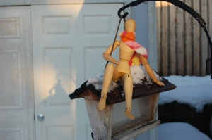 Playing on the birdhouse