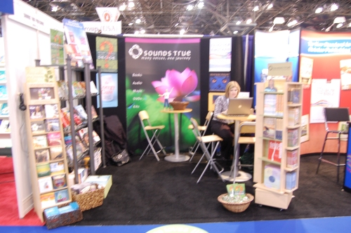 Sounds True's booth ready for business